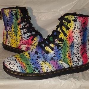 DR. MARTENS Paint Splatter Boots Rainbow